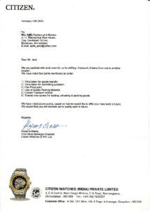 Testimonial from CITIZEN for packers and movers