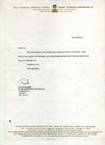 Testimonial from BPCL for logistics