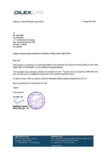 Testimonial from Oilex for transportation service